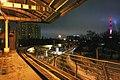 Moscow Monorail, Ulitsa Milashenkova station at night (25957049802).jpg