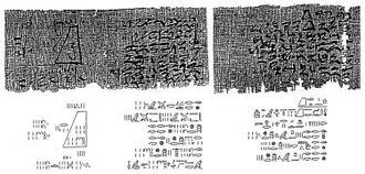 Ancient Egyptian mathematics - Image of Problem 14 from the Moscow Mathematical Papyrus. The problem includes a diagram indicating the dimensions of the truncated pyramid.