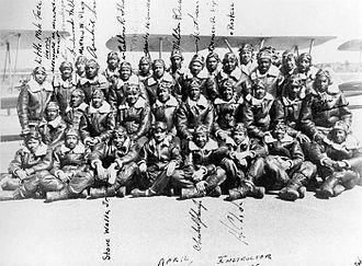 Tuskegee Airmen National Historic Site - Moton Field Flight Instructors in front of BT-13 Stearmans - 1945
