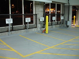 Multi-storey car park - Motorcycle parking inside a multi-storey car park