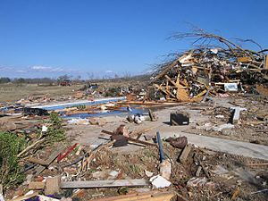 2008 Super Tuesday tornado outbreak - EF4 damage to a large brick home near Moulton, Alabama.