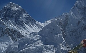Mount Everest reconnaissance from Nepal - Photograph from summit of Kala Pattar showing South Col