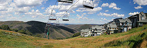 Hotham Alpine Resort - Mount Hotham's Village Chair in the summer.