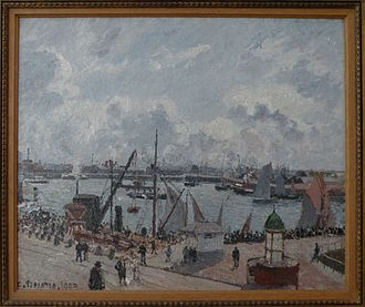 Camille Pissarro, The Outer Harbour of Le Havre, Morning, Sun, Tide, 1902, Museum of modern art Andre Malraux - MuMa MuMA - Pissaro - L'avant-port du Havre. Matin. Soleil. Maree montante.jpg