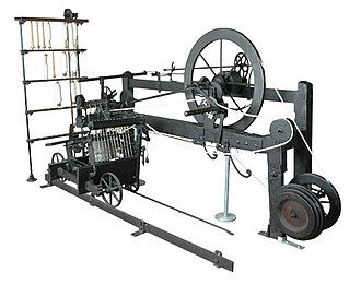 Industrial Revolution - The only surviving example of a spinning mule built by the inventor Samuel Crompton.  The mule produced high quality thread with minimal labour.