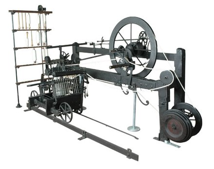 The only surviving example of a spinning mule built by the inventor Samuel Crompton. The mule produced high-quality thread with minimal labour. Mule-jenny.jpg