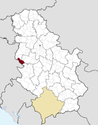 Location of the municipality of Ljubovija within Serbia