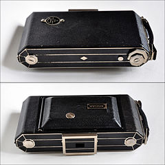 My Kodak Six-20 Model C folding camera, closed (4774873234).jpg