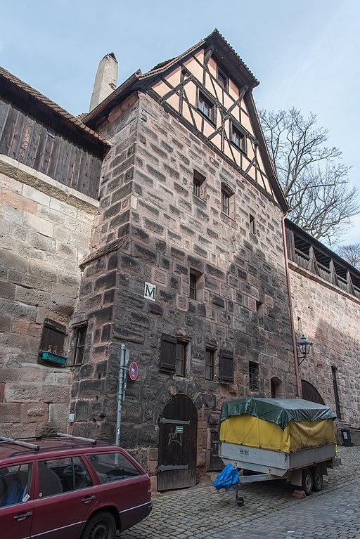 Nürnberg, Stadtbefestigung, Neutormauer, Grünes M, Stadtseite-20160304-003