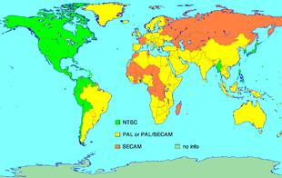 Standard video analogici: verde chiaro - NTSC, giallo - PAL, o in conversione al PAL, arancio - SECAM, oliva - nessuna informazione