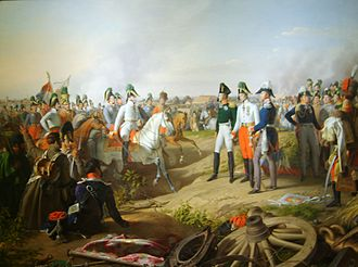 Coalition Wars - The Sixth Coalition's monarchs, Tsar Alexander I of Russia, Emperor Francis I of Austria and King Frederick William III of Prussia, are informed that the French army has been defeated at Leipzig.