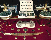 Nader Shah's dagger with a small portion of his jewelry. Now part of the Iranian Crown Jewels.