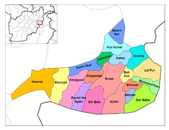 Battle of Tora Bora (2017) - The districts of Nangarhar Province.