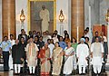 Narendra Modi at the 'At Home' reception for Freedom Fighters, hosted by the President, Shri Pranab Mukherjee, at Rashtrapati Bhavan, in New Delhi. The Vice President, Shri Mohd. Hamid Ansari, the former Prime Minister.jpg