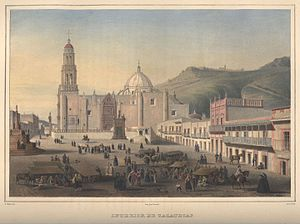 Zacatecas City - Interior de Zacatecas, lithograph, 1836