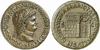 Titus Manlius Torquatus (consul 235 BC) - Sestertius of Nero, circa AD 65, showing on the reverse the Temple of Janus with its gates closed.