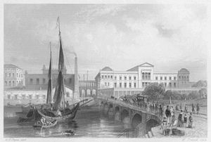 Neues Museum - The Neues Museum and Friedrichsbrücke) in 1850