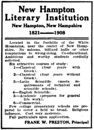 New Hampton School - 1909 advertisement for the school