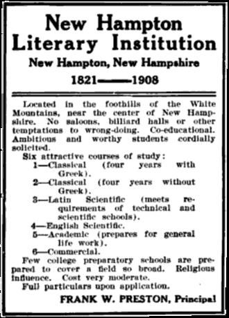 New Hampton School - 1909 advertisement for the school