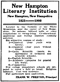New Hampton Literary Institution advertisement 1909.png