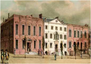 William Street (Manhattan) - View of the northeast corner of William and Wall streets. The house to the far right became City Bank of New York's first home at 38 Wall Street, later re-numbered as №52. (Painting by Archibald Robertson, c. 1798)