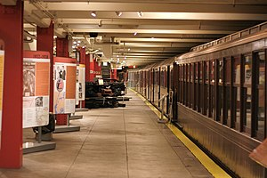 New York Transit Museum - Station platform with museum exhibits