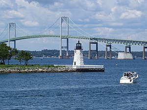 Newport Harbor Light (1842) on northern tip of Goat Island as seen from Easton's Point
