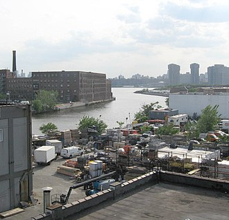 Newtown Creek - Mouth of the Creek, seen from Pulaski Bridge. Manhattan Avenue Bridge formerly connected Manhattan Avenue on the left bank to Vernon Boulevard