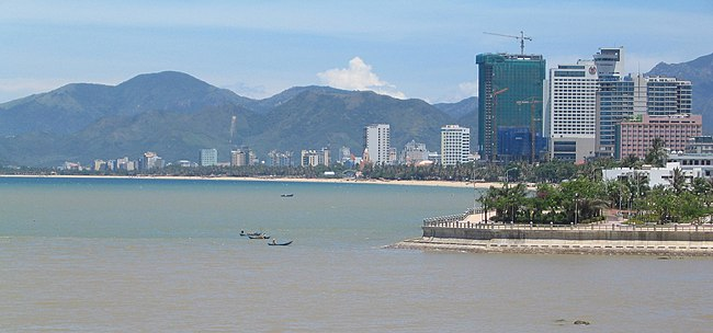 Nha Trang, a popular beach destination has a tropical savanna climate. Nha Trang skyline.jpg