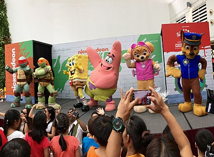 Guest appearance of mascots including characters from Teenage Mutant Ninja Turtles, SpongeBob SquarePants and Paw Patrol from Nickelodeon during the Nickelodeon Slime Cup SG event held in City Square Mall, Singapore in July, 2017 Nickelodeon Slime Cup SG 2017.jpg