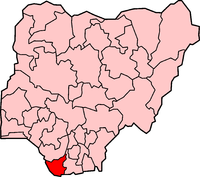 Location of Bayelsa State in Nigeria