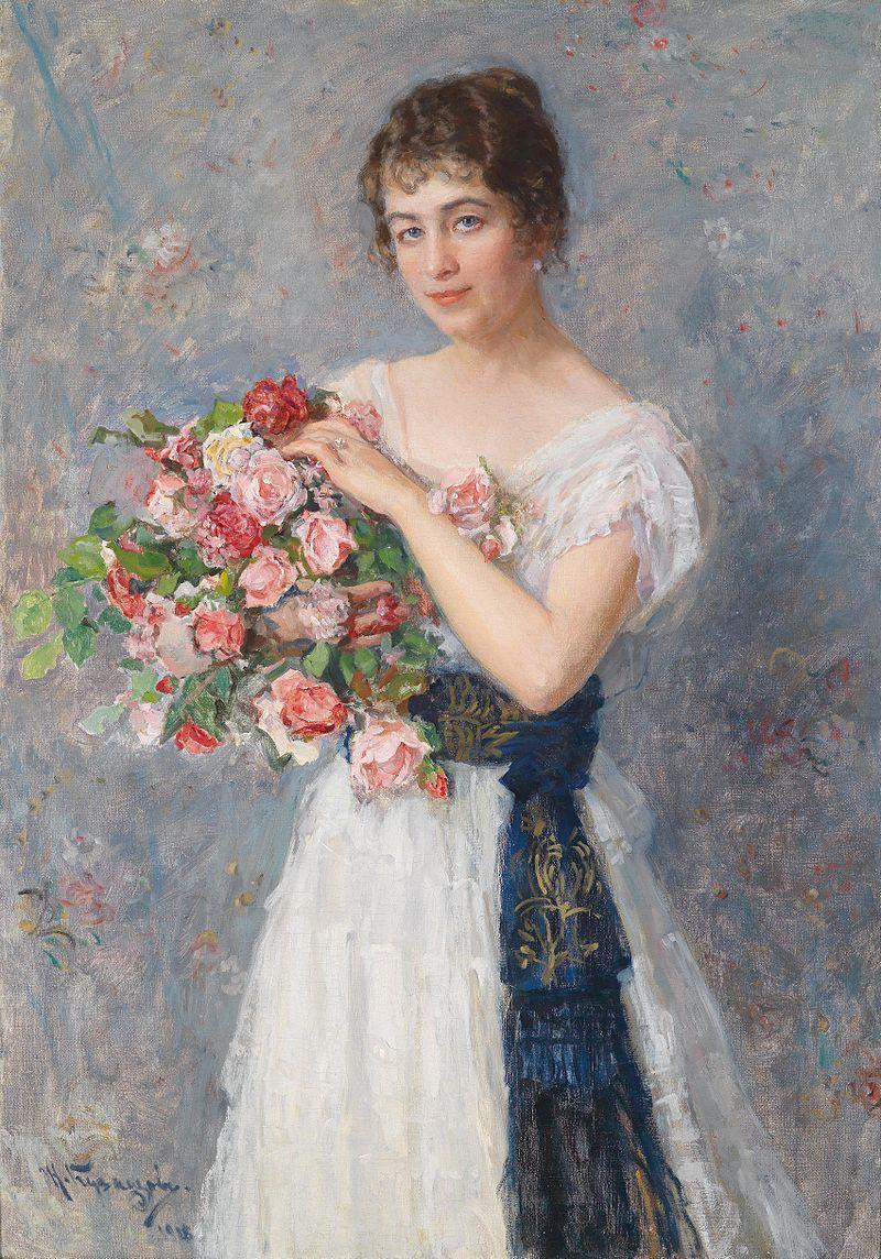 Николай Кузнецов Молодая женщина с розеном 1918.jpg