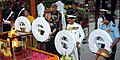 Nirmala Sitharaman along with the Chief of Army Staff, General Bipin Rawat, the Chief of Naval Staff, Admiral Sunil Lanba and the Chief of the Air Staff, Air Chief Marshal B.S. Dhanoa laying wreath at Amar Jawan Jyoti.JPG