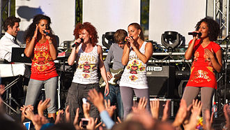 No Angels - Left to right: Nadja Benaissa, Lucy Diakovska, Sandy Mölling and Jessica Wahls on-stage at the Kieler Woche on June 27, 2008.