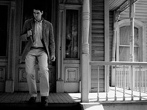 Studio Tour - Norman Bates in front of the Bates Mansion as seen during the Psycho section of the Universal Studios Studio Tour in Hollywood.