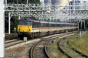 British Rail Class 87 - A Class 87 hauled express on the WCML in InterCity livery in 1994