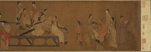 Northern Qi Scholars collating classic texts, 11th century silk handscroll painting.