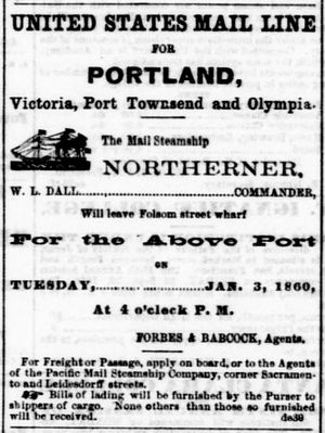 SS Northerner - Image: Northerner Sailing Notice Daily Alta January 3 1860