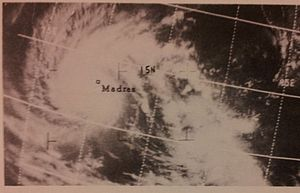 North Indian Ocean tropical cyclone - This ESSA 3 satellite image was taken on November 3, 1966 at 0819 UTC of a tropical cyclone striking Madras, India