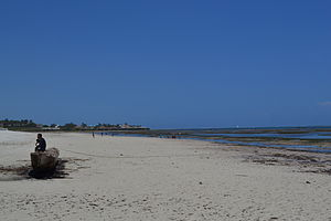 Nyali Beach towards the north from Reef Hotel during low tide and still conditions in Mombasa, Kenya 3.jpg