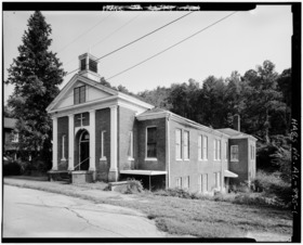 OBLIQUE-EXTERIOR VIEW, FRONT AND SIDE FACADES - Old Methodist Church, Walker County Road 81, Dora, Walker County, AL HABS ALA,64-DORA,1-1.tif