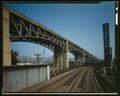 OBLIQUE VIEW - Lorain-Carnegie Bridge, Spanning Cuyahoga River, Cleveland, Cuyahoga County, OH HAER OHIO,18-CLEV,39-2 (CT).tif