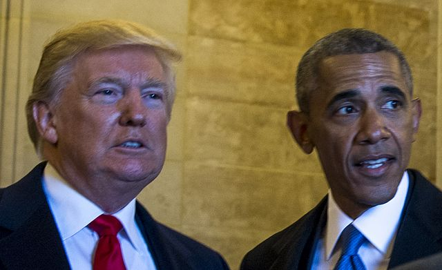 From commons.wikimedia.org: Obama and Trump {MID-159925}