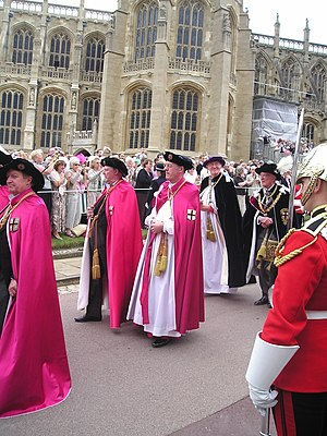 Chancellor of the Order of the Garter - Officers of the Order of the Garter (left to right): Secretary (barely visible), Gentleman Usher of the Black Rod, Garter Principal King of Arms, Register, Prelate, Chancellor