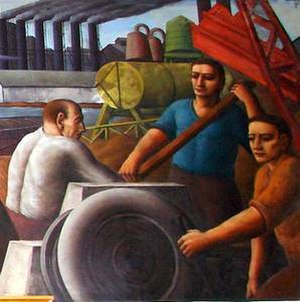 Paul Meltsner - Section of mural Ohio, in the Bellevue, Ohio post office