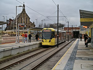Oldham King Street tram stop - A tram at Oldham King Street tram stop in January 2014