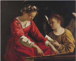Saint Cecilia With an Angel Playing the Spinnet