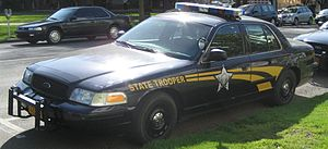 Oregon State Police - A Ford Crown Victoria Police Interceptor of the Oregon State Police parked at the Oregon State Capitol in April 2007.