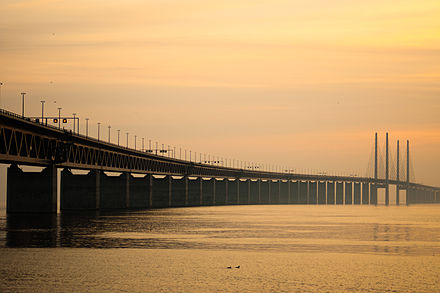 The Oresund Bridge, connecting Malmo to Copenhagen and the Scandinavian peninsula with Central Europe through Denmark. Oresund bridge.jpg