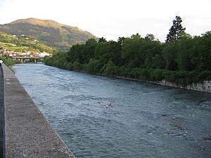 Oria (river) - The Oria river on its way through Lasarte-Oria with mount Buruntza in the background
